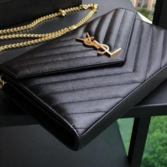 d13cf42bb272 Authentic YSL (Large) Wallet on Chain Caviar Leather Sling Bag Ghw ...