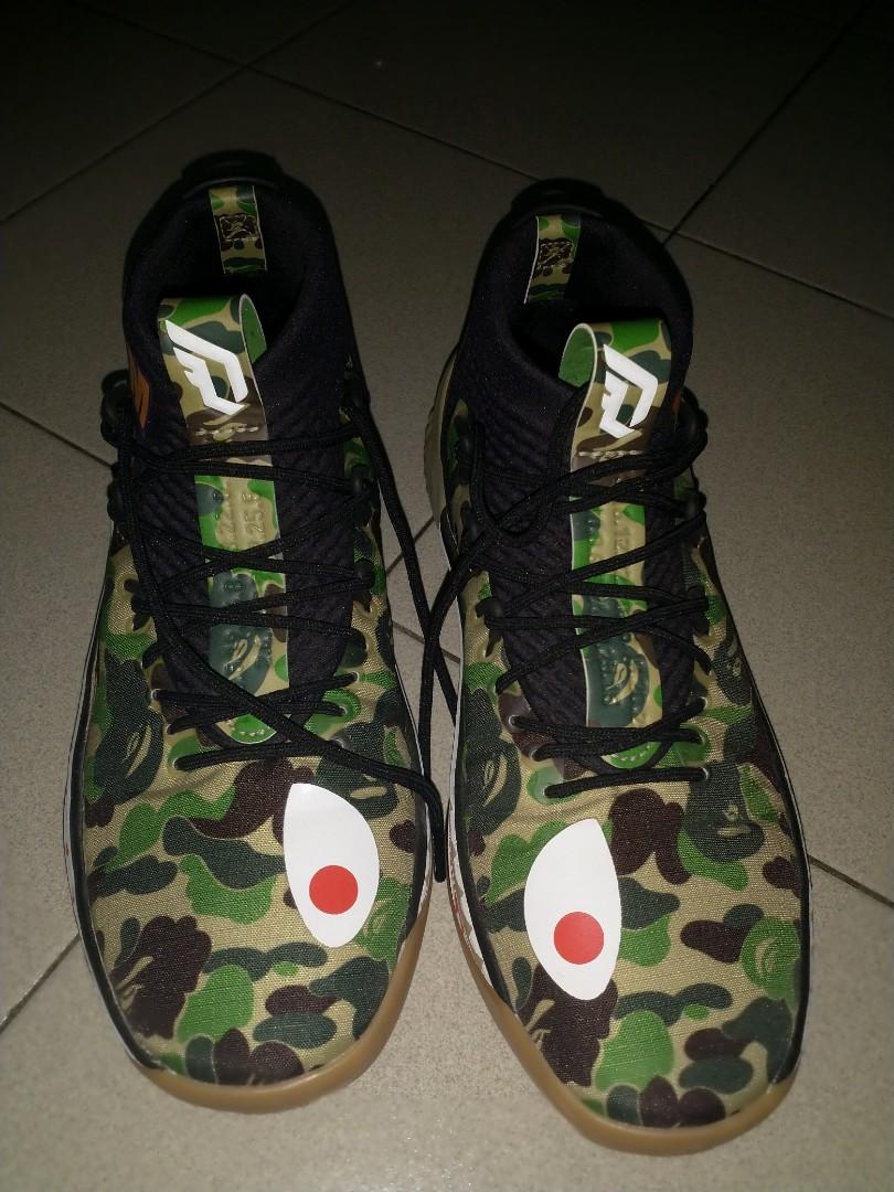 new product a5ef3 0d420 Bape x adidas dame 4 green camo, Fesyen Lelaki, Kasut Lelaki