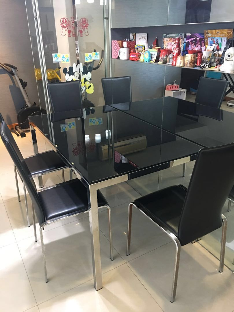 Black Tempered Glass Dining Table Free 4 Chairs Furniture Home Living Furniture Tables Sets On Carousell [ 1080 x 810 Pixel ]