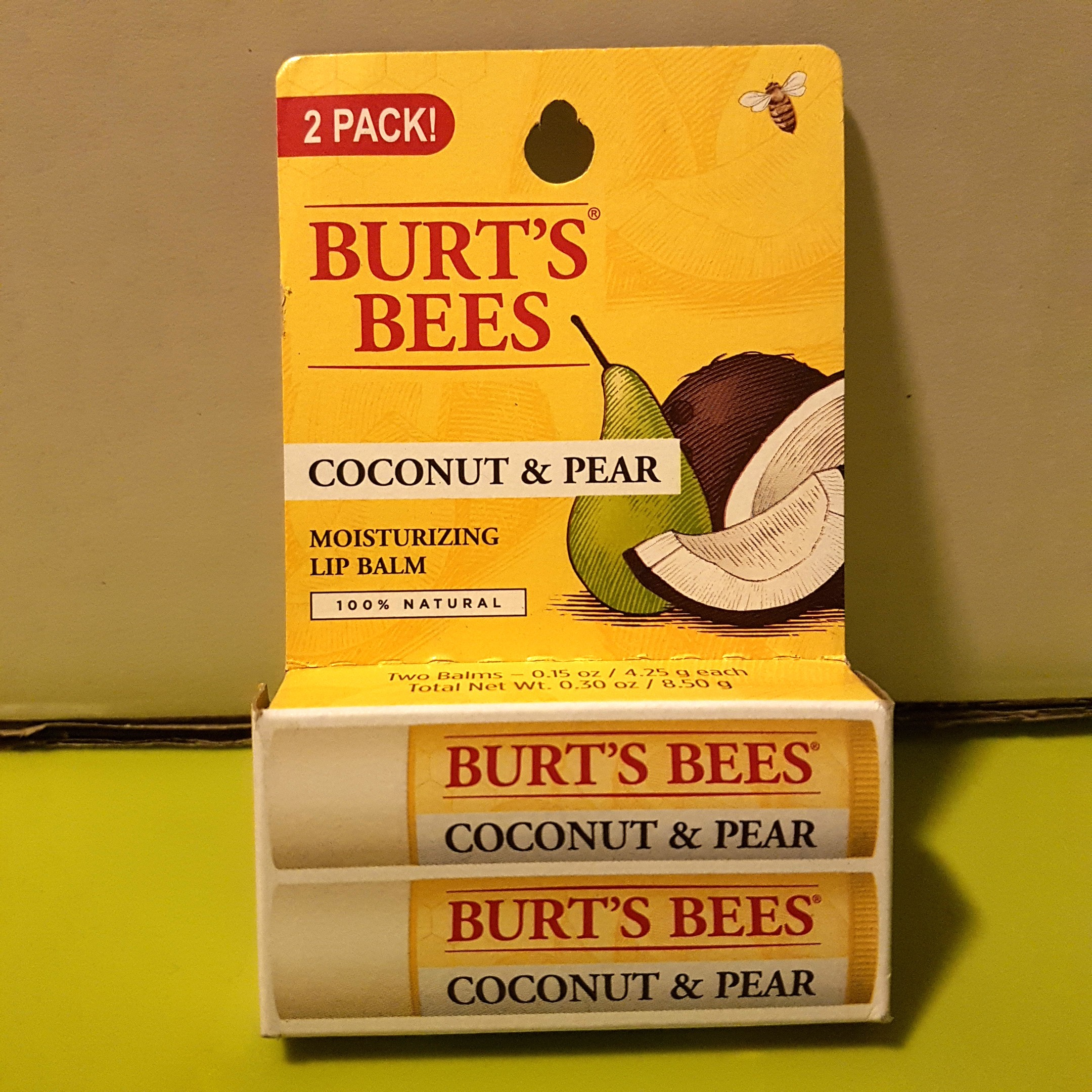 f96769061 Burts Bees Coconut   Pear Moisturizing Lip Balm 100% Natural 2 PACK ...