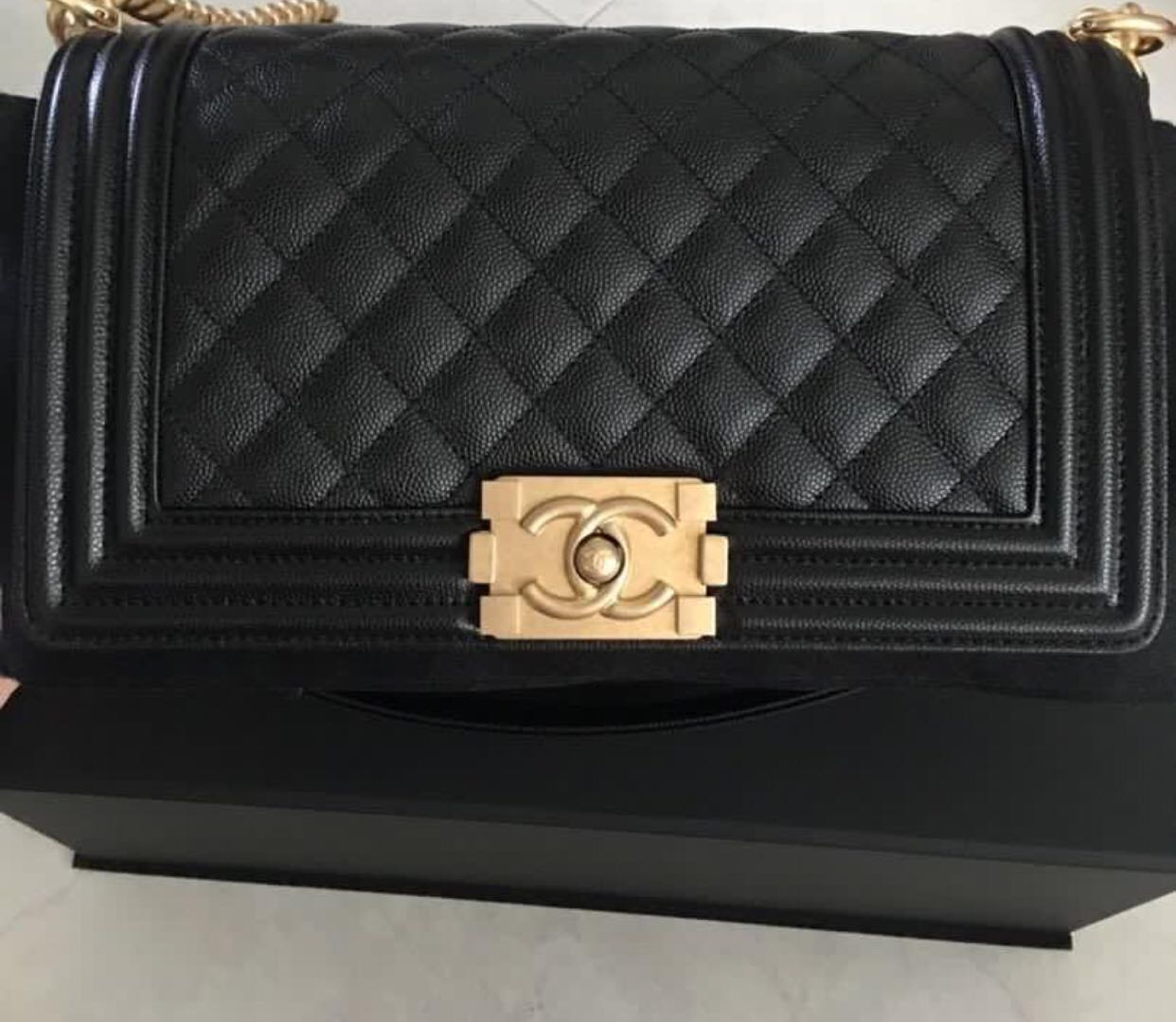6e68cc05d671 Chanel Boy in Black Caviar GHW Old Medium