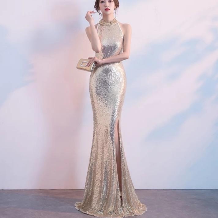 Elegant Gold Open Slit Mermaid Dress Evening Gown Wedding Gown