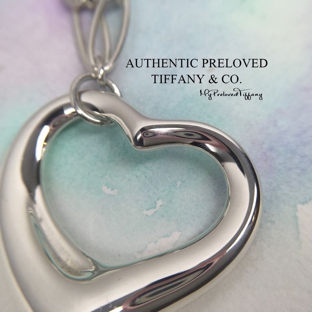 b8564fd14cc Excellent Authentic Tiffany & Co. Elsa Peretti Large Open Heart Link ...