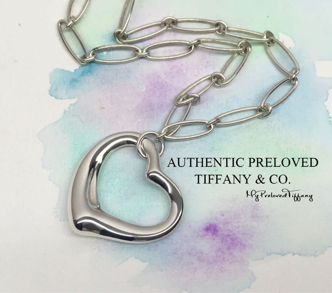 3f3fb9d56 Excellent Authentic Tiffany & Co. Elsa Peretti Large Open Heart Link ...