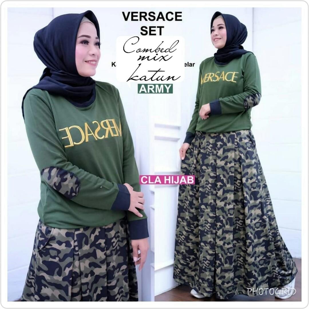 Gamis Versace Set Fesyen Wanita Muslim Fashion Two Piece Di Carousell