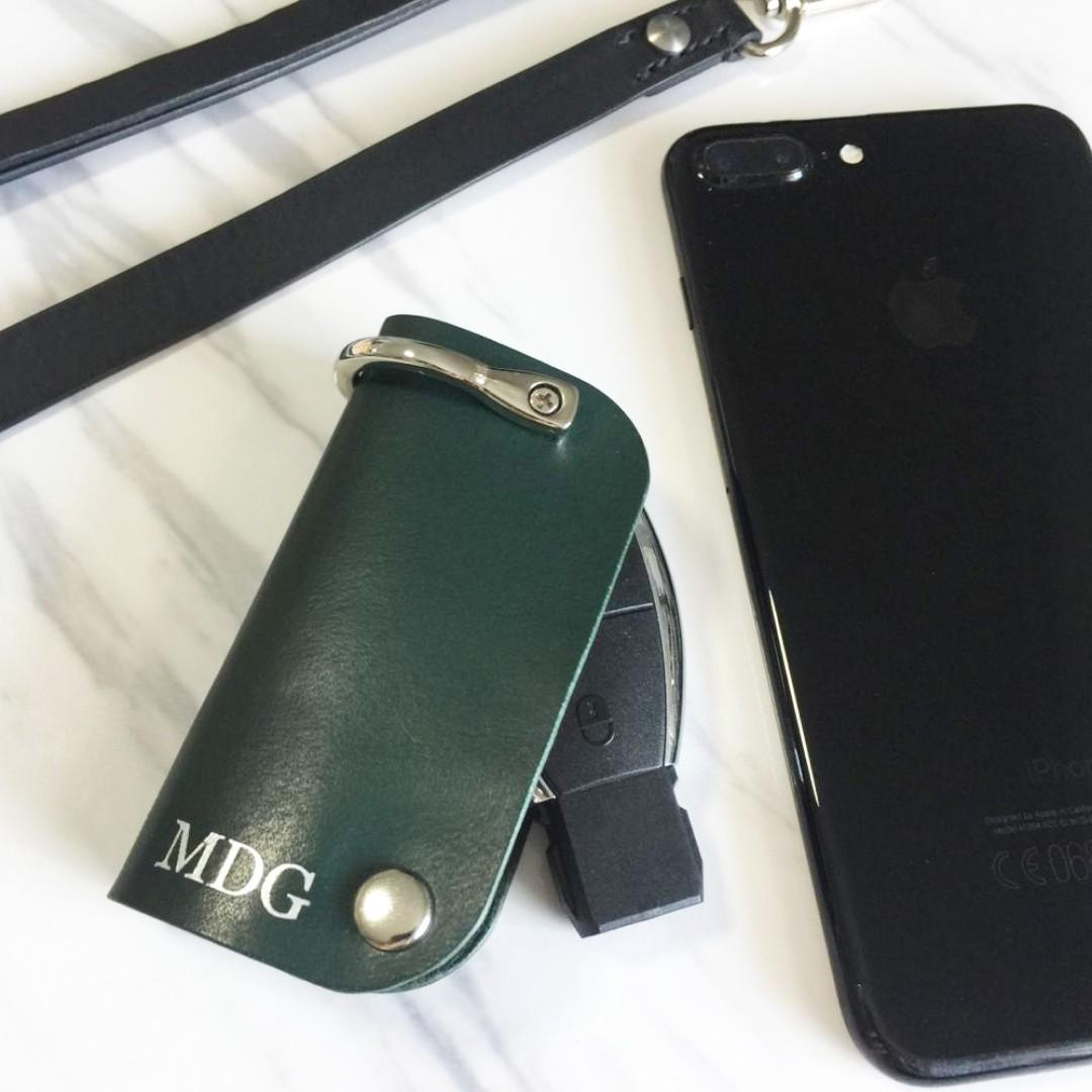 Green Mercedes Benz Car Key Remote Case Pouch Fob Holder Leather