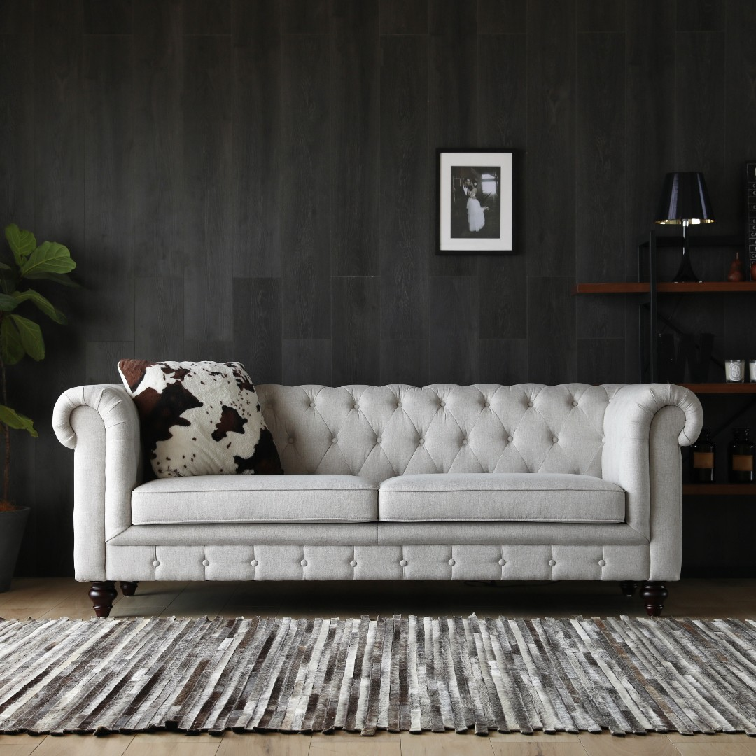 Hugo 3 Seater Chesterfield Sofa - Dove Grey, Furniture, Sofas on ...