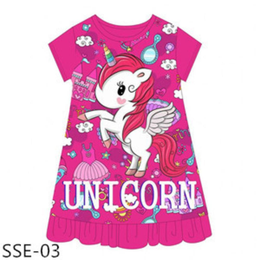 48f44dc1 INSTOCK UNICORN DARK PINK SLEEP DRESS, Babies & Kids, Girls' Apparel ...