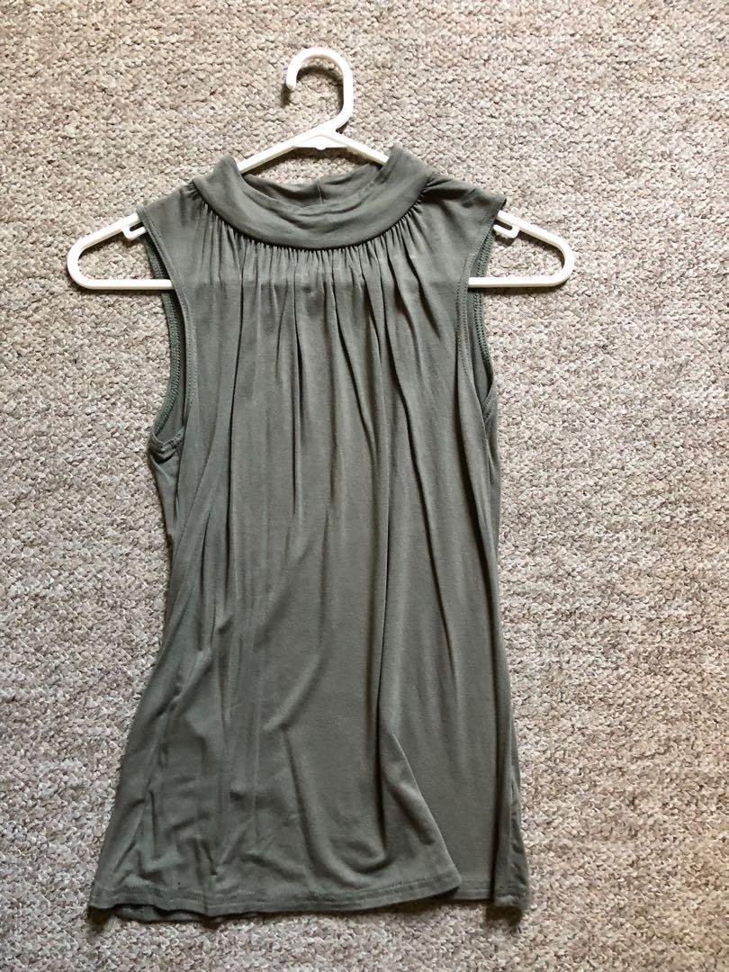 Khaki sleeveless top