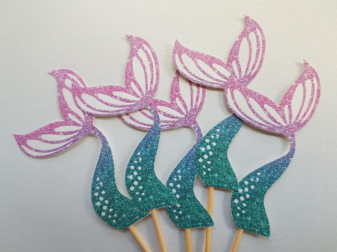 Mermaid Tail Cake Topper Design Craft Art Prints On Carousell