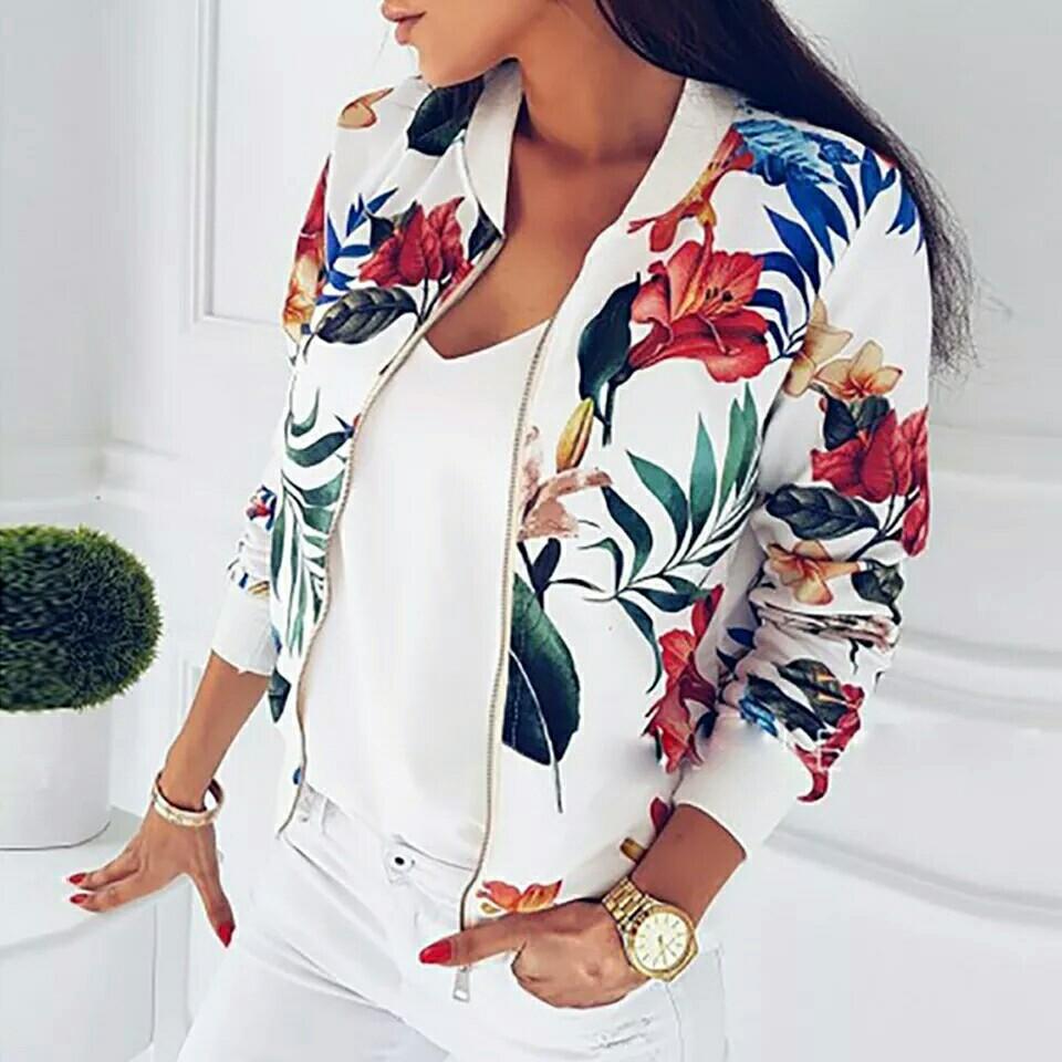 New Ladies Ribbed Trim Flower Print Bomber Jacket Women Autumn Printing Long Sleeve Casual Tops Zipper Jacket Outwear Loose Tops
