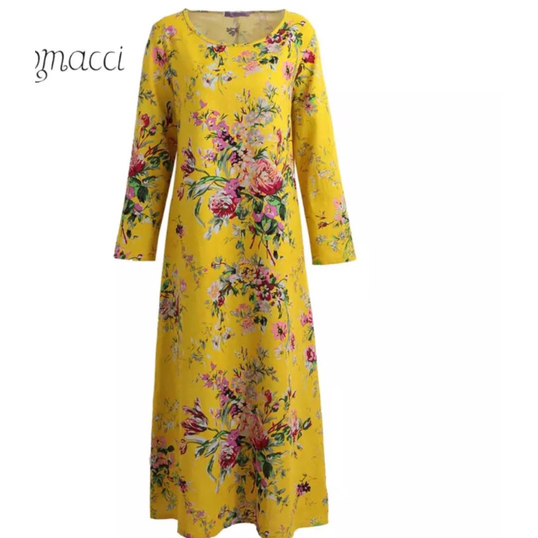 e876b396f9 PO) S-5XL Vintage Women Maxi Floral Dress Long Sleeves Pockets O ...
