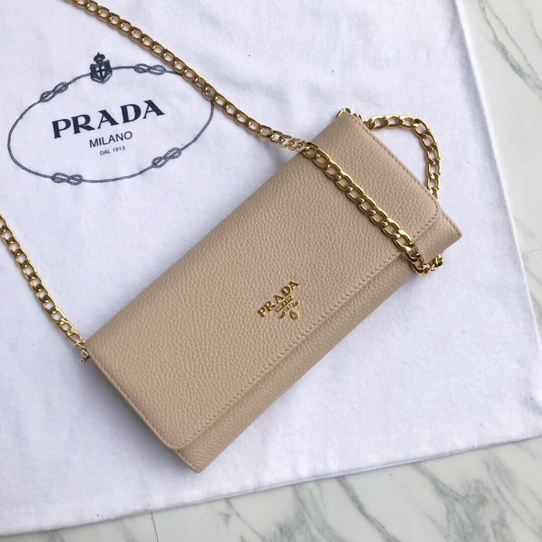 8ff44bf41c6c Prada leather wallet on chain
