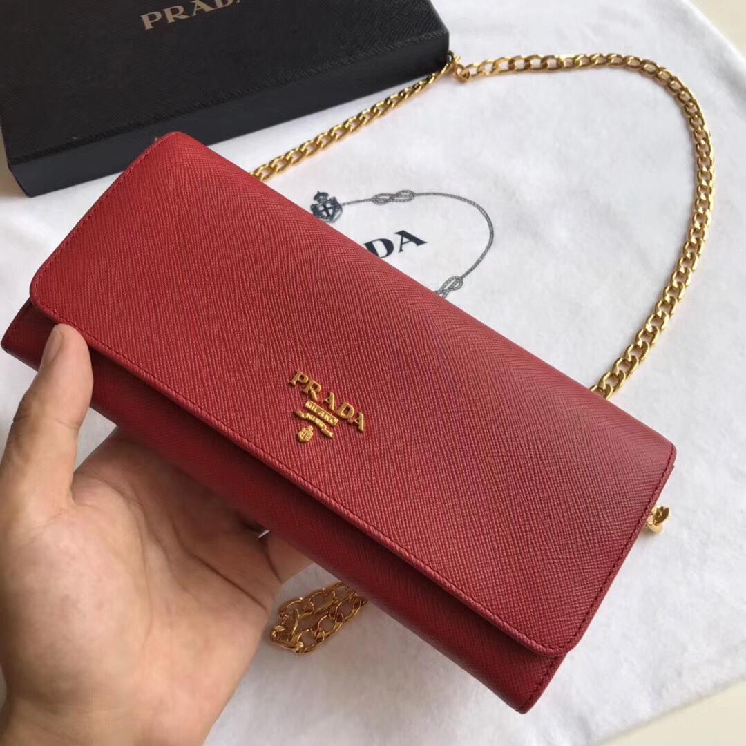 a2498e5ac24d Prada saffiano wallet on chain, Women's Fashion, Bags & Wallets ...