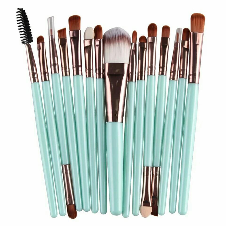 Pro 15Pcs Makeup Brushes Set Eye Shadow Foundation Powder Eyeliner Eyelash Lip Make Up Brush Cosmetic Beauty Tool Kit Hot