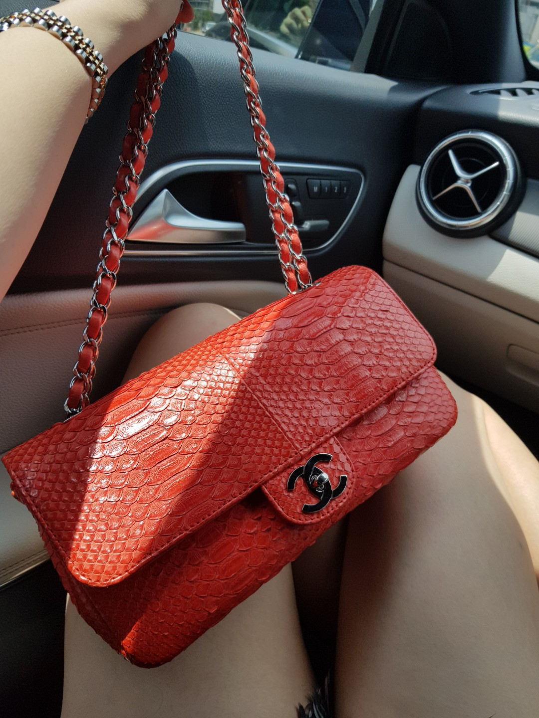 5ca1cd0f6f95 Red Chanel Python East West Flap Bag, Luxury, Bags & Wallets ...