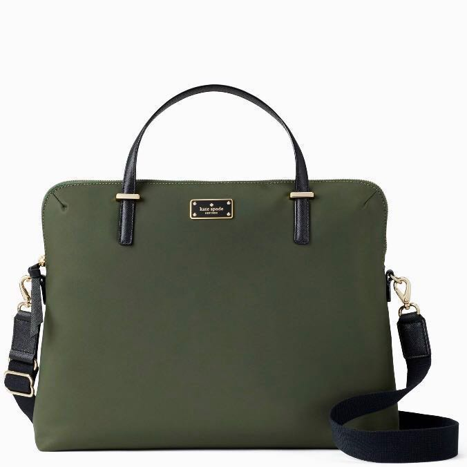 reputable site ee015 cf44c SALE Kate Spade Wilson Road Daveney Laptop Work Bag Slingbag Satchel  Evergreen Army Green