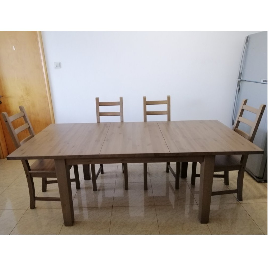 Solid Wood Extendable Dining Table With 4 Chairs Furniture Tables
