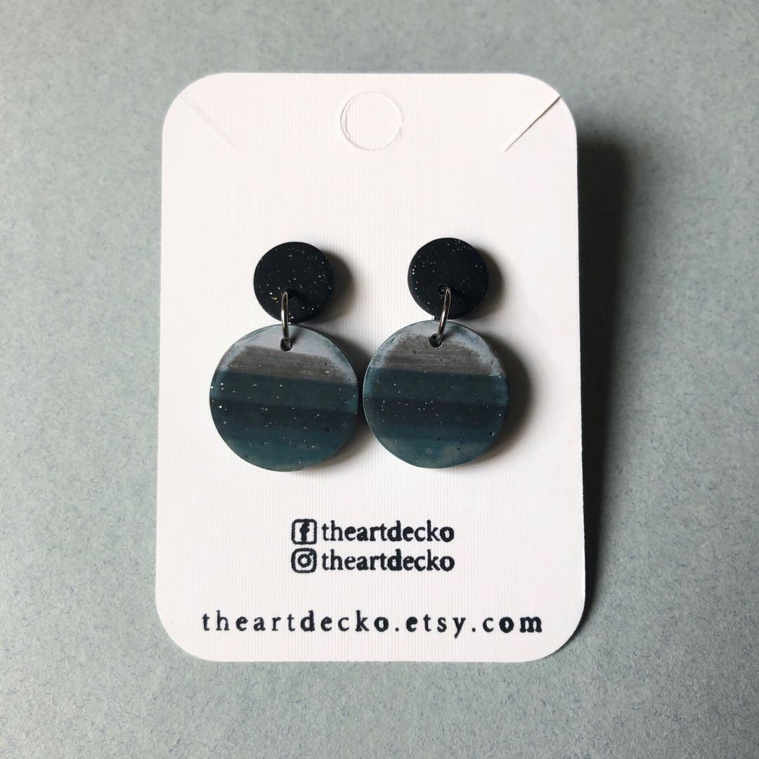 "1 1//2/"" Dangle Geometric Design Details about  /Vintage Copper Screw Back Earrings"
