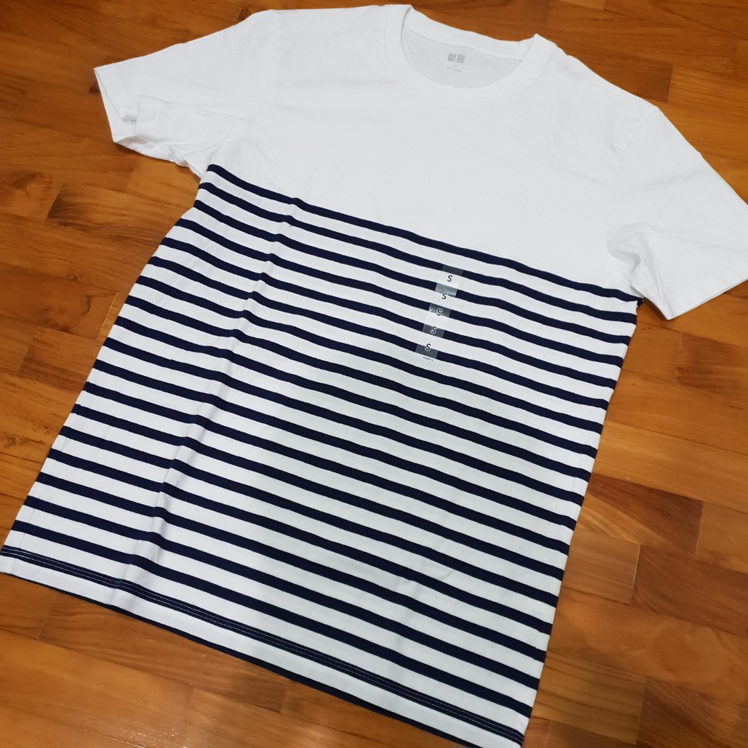 ed5781b5bf Uniqlo Men Half Striped Crew Neck Short Sleeve T-Shirt, Men's Fashion,  Clothes, Tops on Carousell
