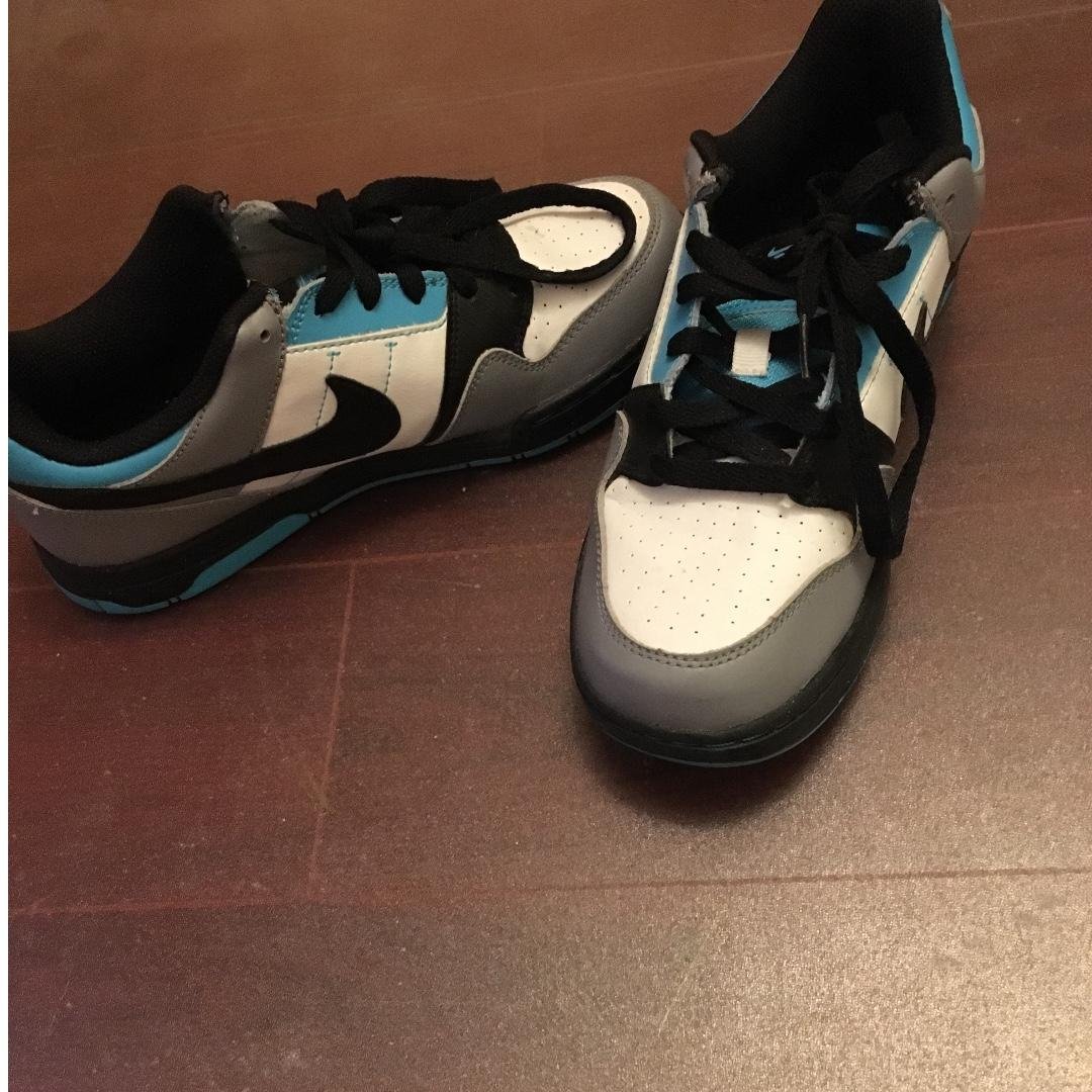 Very Lightly used (only used 3 or so times...really cool shoes but don't suit me) Blue, White and Black Nike Mogan 2 JR shoes- Size 6Y