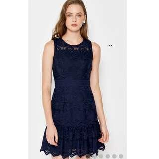 Love and Bravery shuri Organza Dress in Navy Blue Size XS