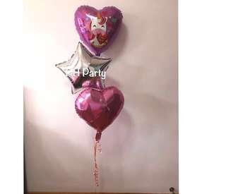 (24/10) Include helium I love you unicorn , Star + heart foil bouquet