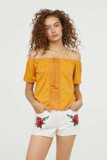 H&m yellow off shoulder top