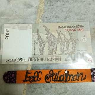 2000 Rupiah ascending ladder (nombor menaik)