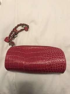 Faux Croc Hot Pink Clutch