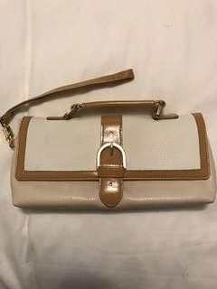Tan and White Clutch