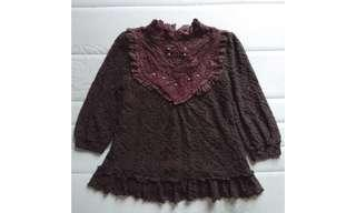 Axes Femme black and brown lace turtleneck blouse