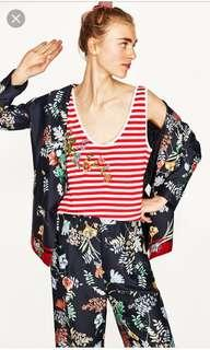 Zara Red Striped Floral Embroidery Tank Top