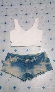 Bench Crop top w/ sexy shorts (BUNDLE)