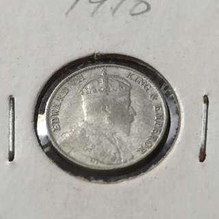 Straits 1910B 5 Cents.