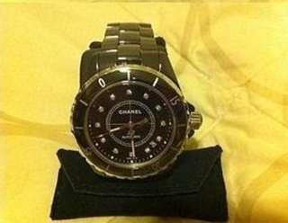 台灣專櫃全新真品CHANEL J12珠寶系列38mm黑色自動上鍊12點鑽陶瓷機械錶