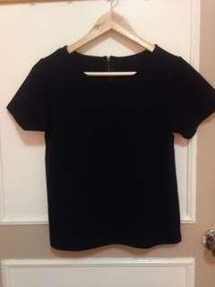 Like New Black Zippered Top