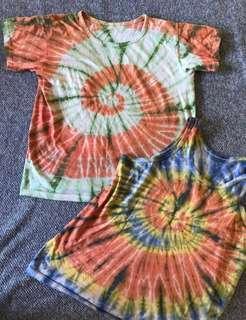 X2 Tie Dye Fashion festival hippie boho patterned vintage retro t shirt summer tops