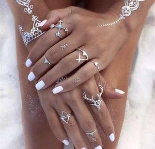 7pcs set women's silver fashion boho festival midi ring set