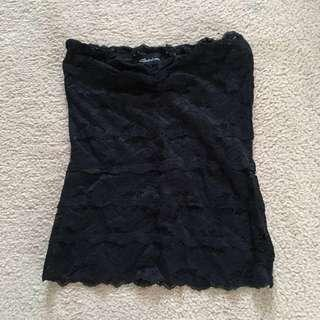BLACK LACE STRAPLESS TANK TOP