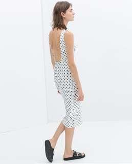 ZARA midi polka dot dress sz small