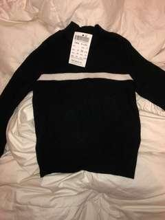 Brandy Melville Turtle Neck Sweater With Stripe