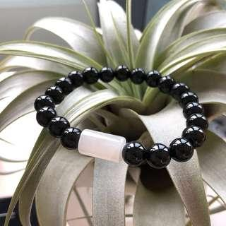 8.3mm A-Grade Type A Natural Omphacite Jadeite Jade Beaded Bracelet with Icy White Barrel No.190123
