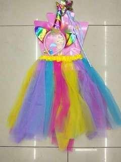 Unicorn Tutu Skirt Wand & Headband Costume