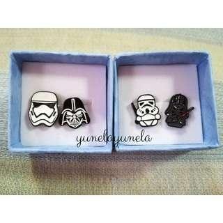 Korean Stud Earrings: Star War's Storm Trooper and Darth Vader