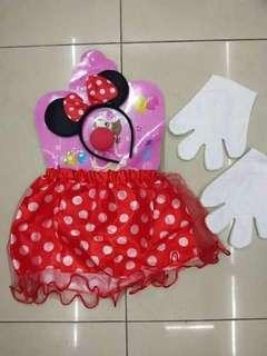 Minnie Mouse Skirt,  Headband & Gloves Costume