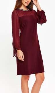 Wallis Berry Tie Sleeve Embellished Neck Dress #H&M50