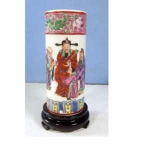 Vintage miniature famille rose medallion porcelain vase Fu Lu Shou Deities