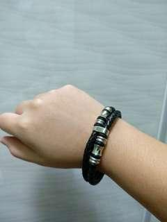 Black Leather Bracelet Stainless Steel Embellishments Magnetic Clasp Brand New
