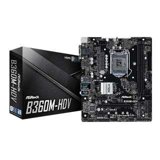 Motherboard Asrock B360M-HDV LGA1151 coffee lake support 8th gen (newly bought 2018, 3 years warranty)